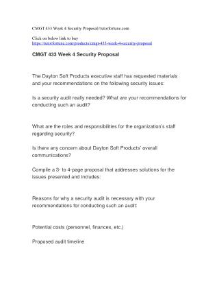 CMGT 433 Week 4 Security Proposal//tutorfortune.com