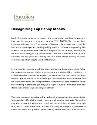 Recognizing Top Penny Stocks