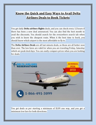 Know the Quick and Easy Ways to Avail Delta Airlines Deals to Book Tickets