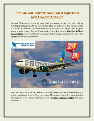 How Can You Improve Your Travel Experience with Frontier Airlines?
