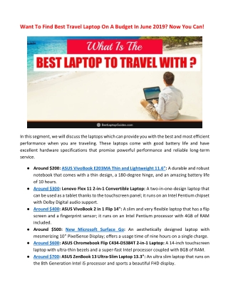 Want To Find Best Travel Laptop On A Budget In June 2019? Now You Can!