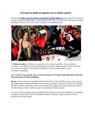 It is how to make an opinion on an online casino?