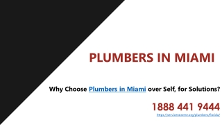 Why Choose Plumbers in Miami over Self, for Solutions?