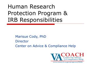 Human Research Protection Program &  IRB Responsibilities