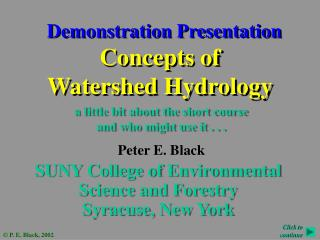 Concepts of Watershed Hydrology