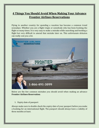 4 Things You Should Avoid When Making Your Advance Frontier Airlines Reservations