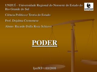 UNIJUÍ – Universidade Regional do Noroeste do Estado do Rio Grande do Sul Ciência Política e Teoria do Estado Prof. Deja