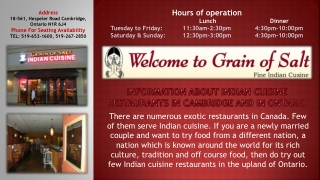 Information About Indian Cuisine Restaurants In Cambridge And In Ontario