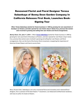Renowned Florist and Floral Designer Teresa Sabankaya of Bonny Doon Garden Company In California