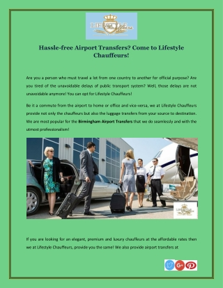 Hassle-free Airport Transfers? Come to Lifestyle Chauffeurs