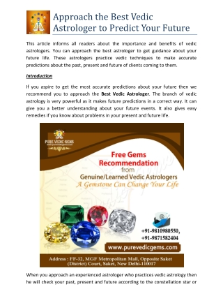 Approach the Best Vedic Astrologer to Predict Your Future