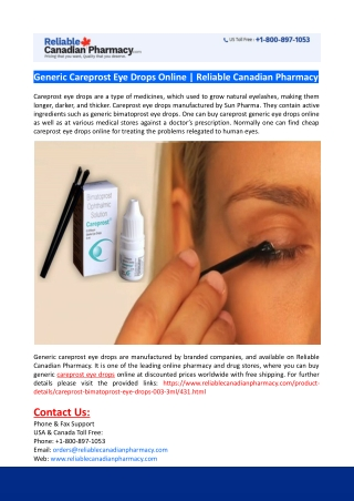 Generic Careprost Eye Drops Online-Reliable Canadian Pharmacy