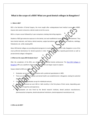 What is the scope of a BDS? What are good dental colleges in Bangalore?