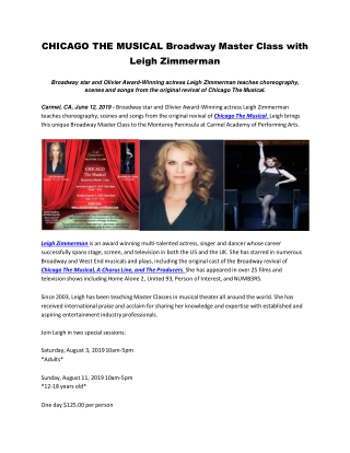 Broadway star and Olivier Award-Winning actress Leigh Zimmerman teaches choreography, scenes and songs from the original