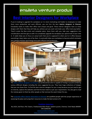 Best Interior Designers for Workplace
