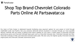 Shop Best Quality Chevrolet Colorado Quality Parts Online at Partsavatar.ca