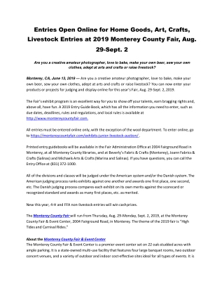 Entries Open Online for Home Goods, Art, Crafts, Livestock Entries at 2019 Monterey County Fair