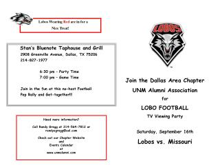Join the Dallas Area Chapter UNM Alumni Association for LOBO FOOTBALL TV Viewing Party Saturday, September 16th Lobos vs