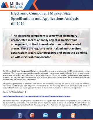 Electronic Component Market Size, Specifications and Applications Analysis till 2020