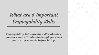What are 5 Important Employability Skills