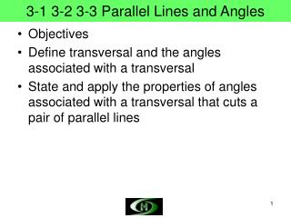 3-1 3-2 3-3 Parallel Lines and Angles