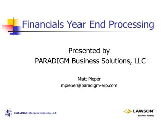 Financials Year End Processing