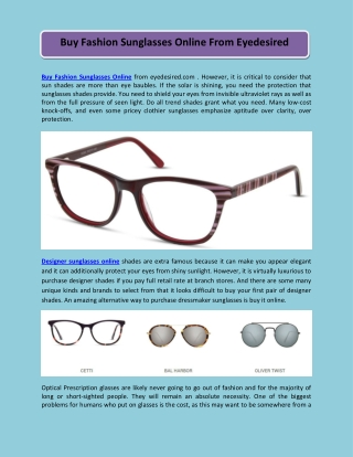 Buy Fashion Sunglasses Online From Eyedesired