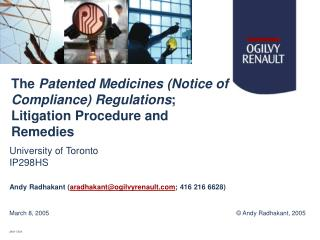 The  Patented Medicines (Notice of Compliance) Regulations ; Litigation Procedure and Remedies