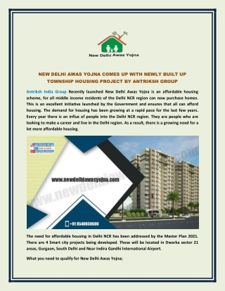 New Delhi Awas Yojna comes up with newly built up township housing project by Antriksh Group