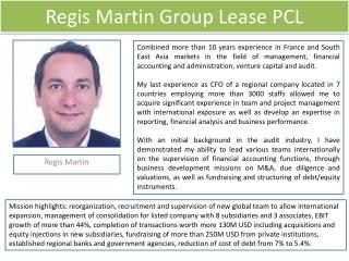 Regis Martin Group Lease / Regis Martin GL