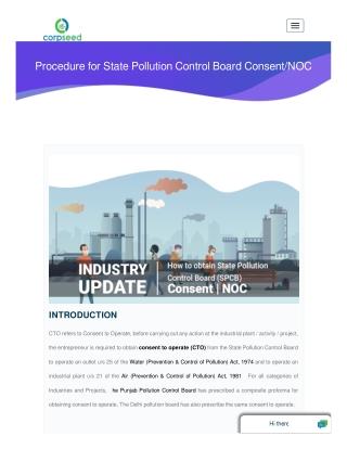 State Pollution Control Board Consent/NOC