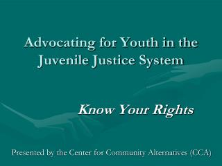 Advocating for Youth in the Juvenile Justice System