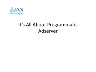 Its all about programmatic adserver