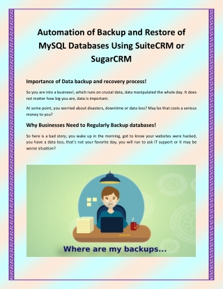Backup & Restore Manager for SuiteCRM - Automatic,Database & Instance