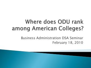 Where does ODU rank among American Colleges?