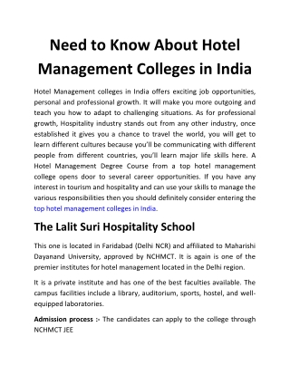 Need to Know About Hotel Management Colleges in India