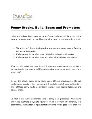 Penny Stocks, Bulls, Bears and Promoters