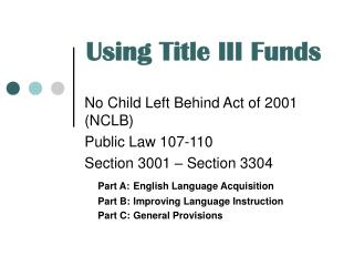 Using Title III Funds