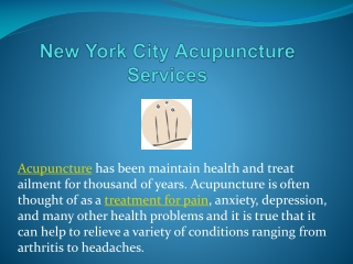 New York City Acupuncture Services