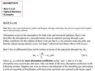 ABSORPTION   Beer s Law  Optical thickness  Examples