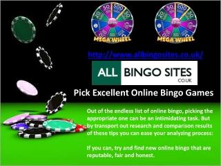 Pick Excellent Online Bingo Games