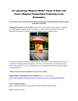 """For upcoming """"Negroni Week"""" Yeast of Eden will Host a Negroni Competition Featuring Local Bartenders"""