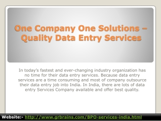 One Company One Solutions – Quality Data Entry Services
