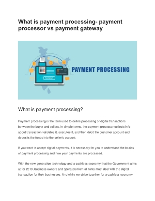 payment processing- payment processor vs payment gateway