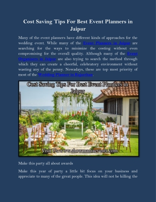 Cost Saving Tips For Best Event Planners in Jaipur