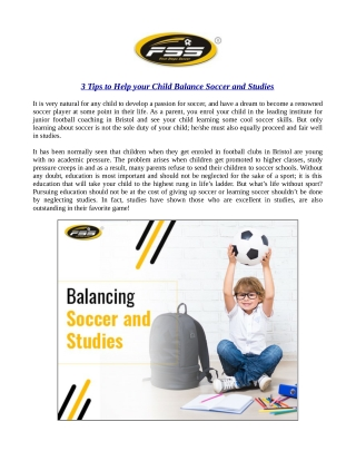 3 Tips to Help your Child Balance Soccer and Studies