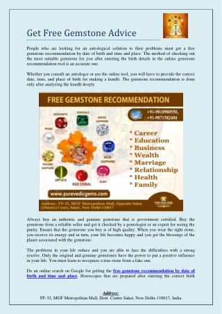 Get Free Gemstone Advice