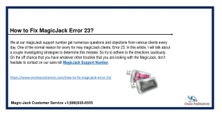 MagicJack Error 23  1(888)626-6555 Magicjack Technical Support