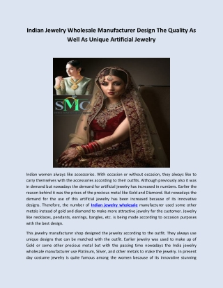 Indian Jewelry Wholesale Manufacturer Design The Quality As Well As Unique Artificial Jewelry