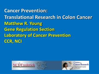Cancer Prevention:  Translational Research in Colon Cancer Matthew R. Young Gene Regulation Section  Laboratory of Cance